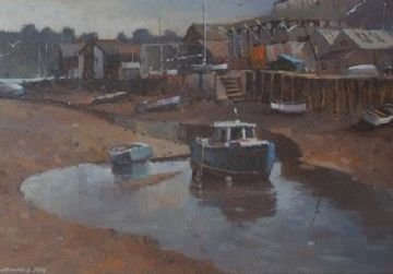 Michael D Hill Original Acrylic Painting Harbour Scene With Boats